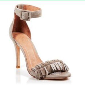 Joie Suede Ankle Strap Fringe Sandal